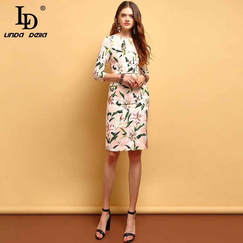 Kadın Giyim'ten Elbiseler'de LD LINDA DELLA Moda Yaz Elbiseler kadın Zarif Zambak Çiçek Baskılı Toplamak Bel Vintage Vacation Bayanlar A Line Elbiseler'da  Grup 1