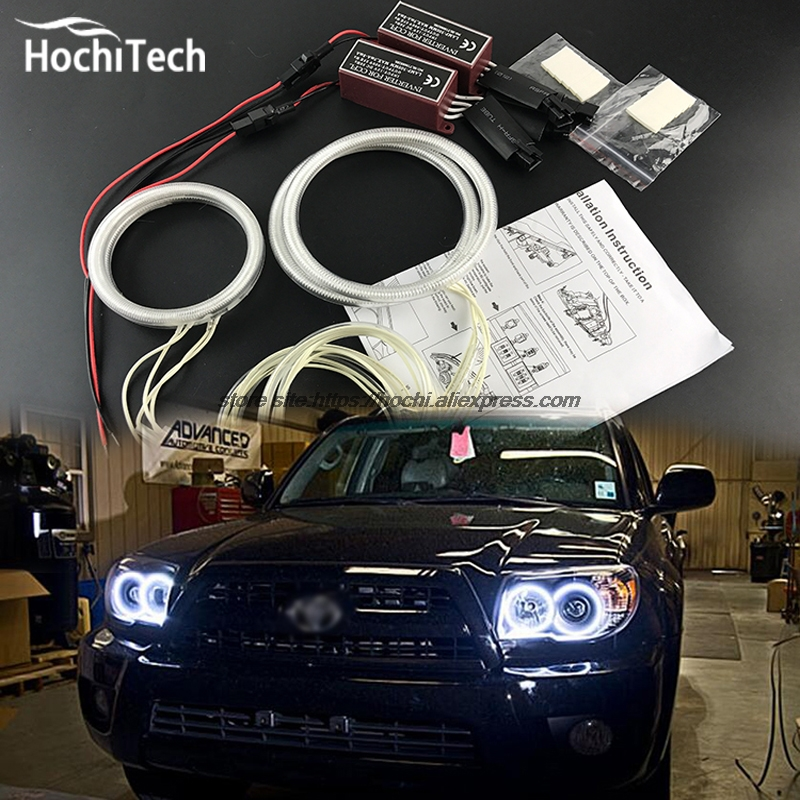 цена HochiTech ccfl angel eyes kit white 6000k ccfl halo rings headlight for Toyota 4Runner 2006 2007 2008 2009
