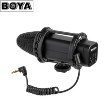 BOYA BY-V02 3.5mm Jack Stereo X/Y Compact Condenser Microphone for DSLR Video Camera Camcorder Audio Recorder Mic + Windshield