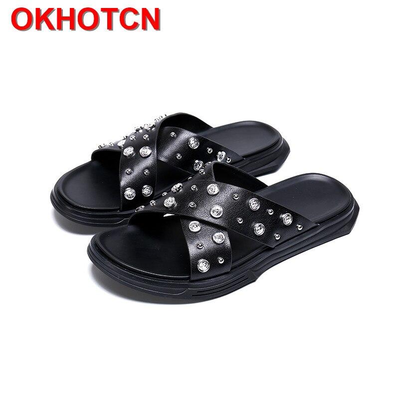 Outside Men Slippers Leather Crystal Men Home Shoes Thick Bottom Men Slides Rivet Rhinestone Summer Slippers Black Male Slippers