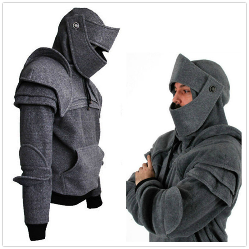 Men Medieval Vintage Warrior Gladiator Cosplay Costumes Armor Hoodie Soldier knight Mask Jacket Sweatshirt Party Costumes