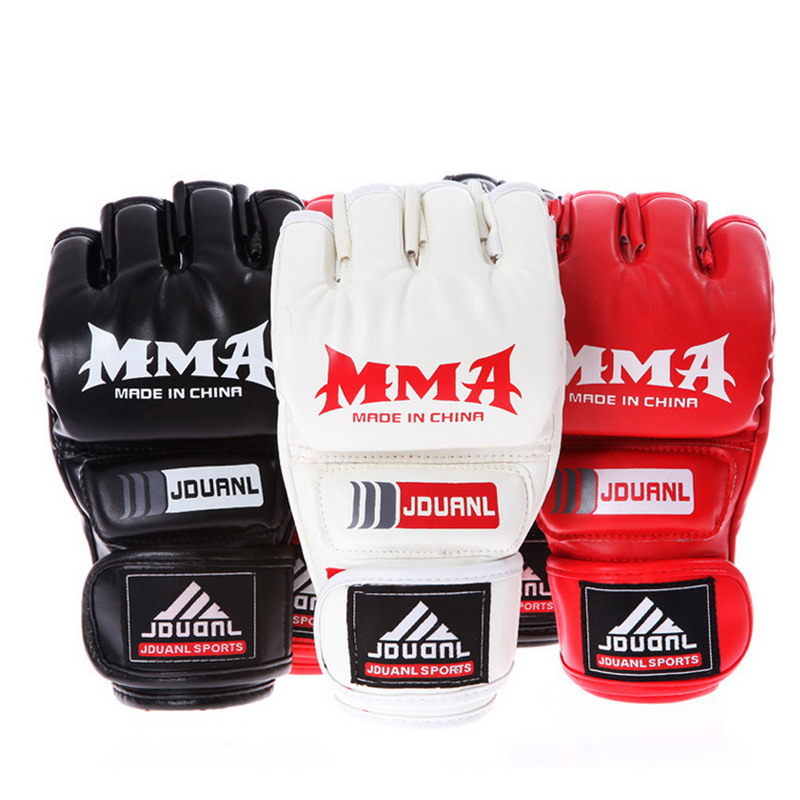 boxing gloves Leather Half Finger Fight MMA Muay Thai  Boxing Training and Competition Gloves EA14  цены
