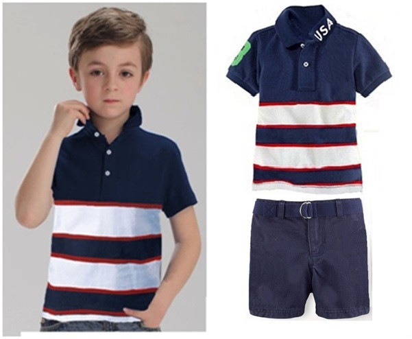 Hot new kids casual polo horse shirt pants sets summer for Boys striped polo shirts