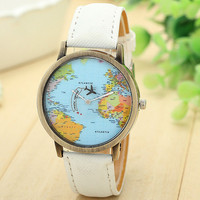 New Global Travel By Plane Map Women   Dress     Watch   hours clock Denim Fabric Band Wristwatches