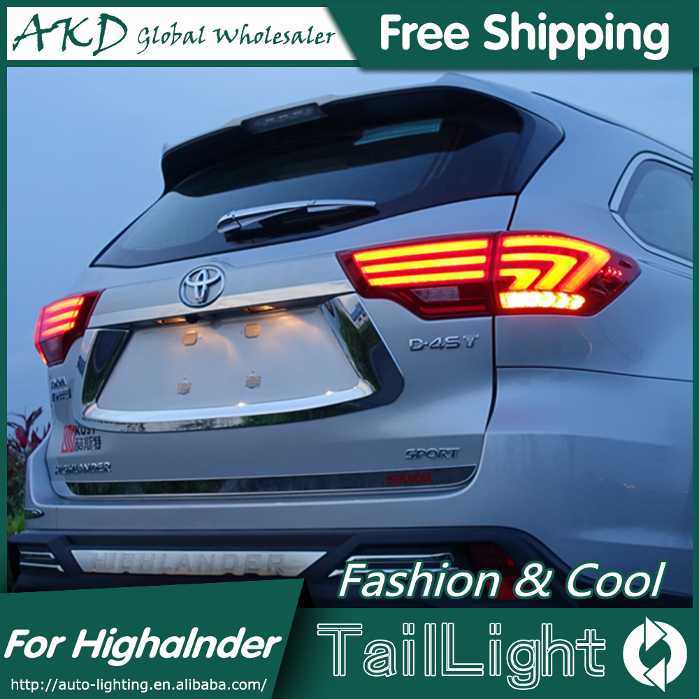 AKD Car Styling for Toyota Highlander Tail Lights 2015 New Kluger LED Tail Light Lexus Type Rear Lamp DRL+Brake+Park+Signal high quality car styling 35w led car tail light for toyota highlander 2015 tail lamp drl signal brake reverse lamp