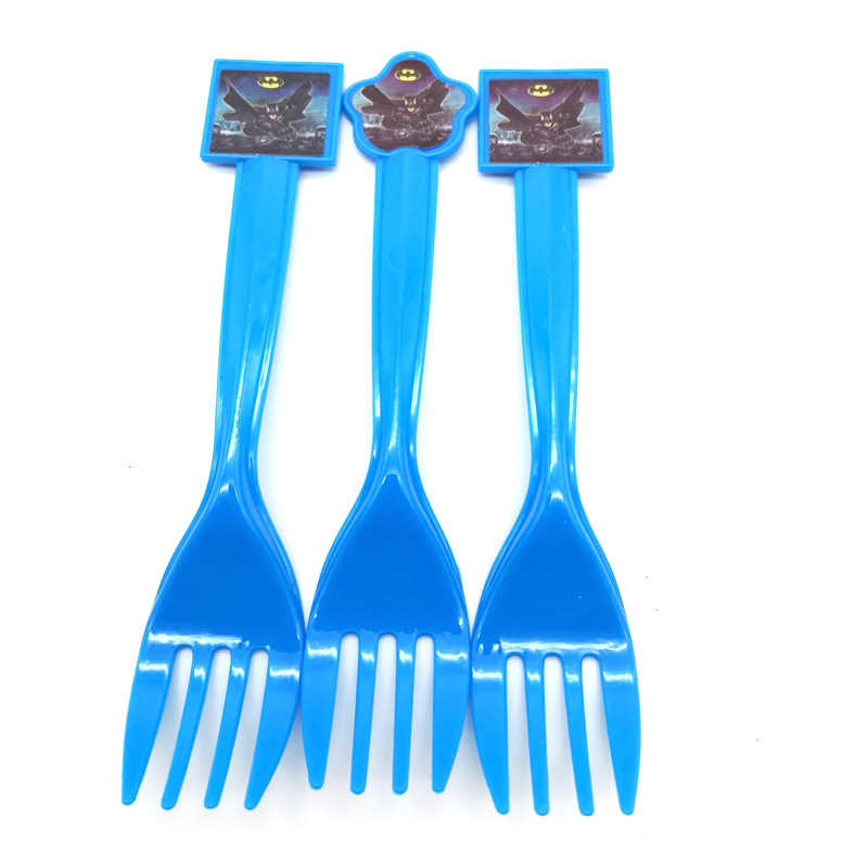Happy Birthday Party 10PCS Batman Theme Plastic Disposable Tableware Baby Shower Decorate Spoons Kids Boys Favors Forks Knife
