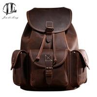 Backpack Vintage Men's Leather Backpack Original Backpacks Crazy Horse Genuine Cowhide Skin Leather Men's Bag Cow Leather Back
