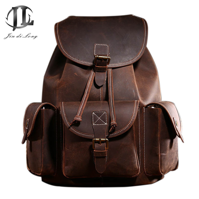 Leather Backpack Men Luxury Big Capacity Brown Crazy Horse Leather Travel Bag Vintage Student Backpack Computer Bag Male Mochila