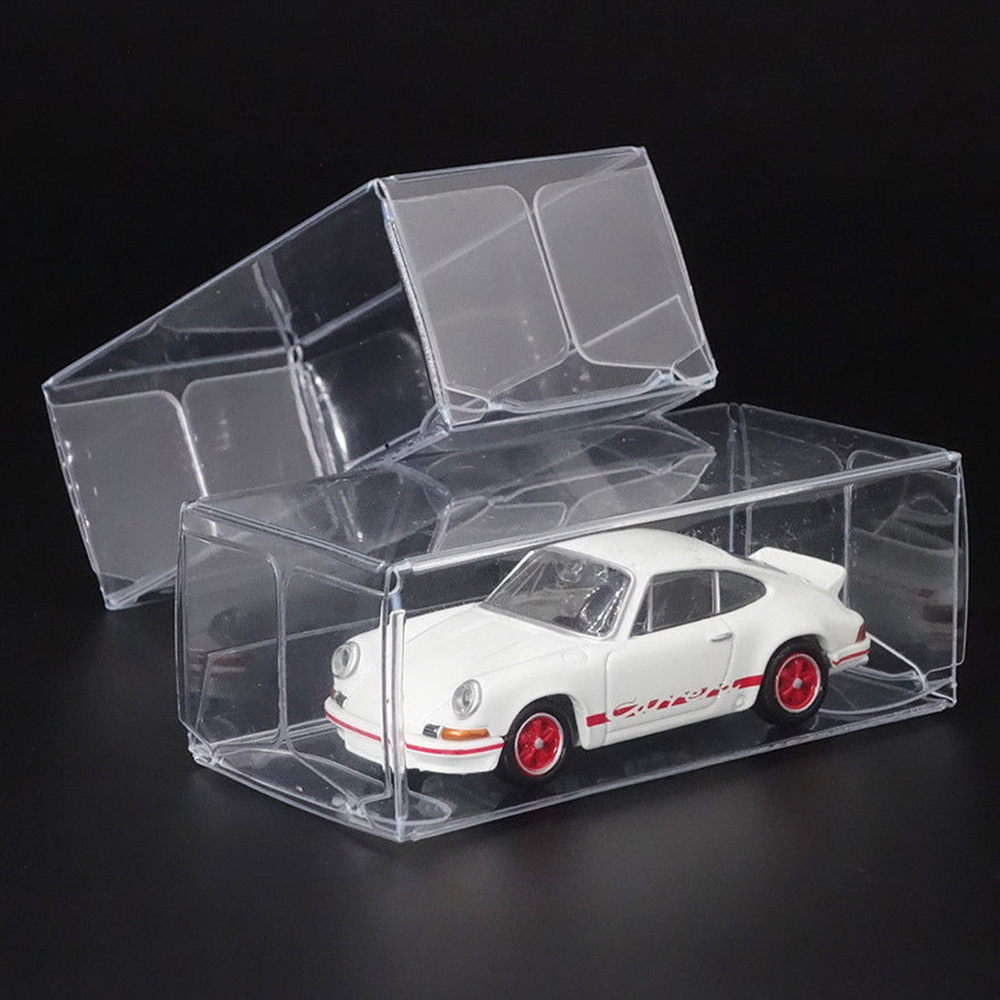 25 Pcs PVC Toy Car Display Boxes Transparent Box Model Toy Car Wheels Dustproof Exhibition Box Toys Accessories 30*40*82mm