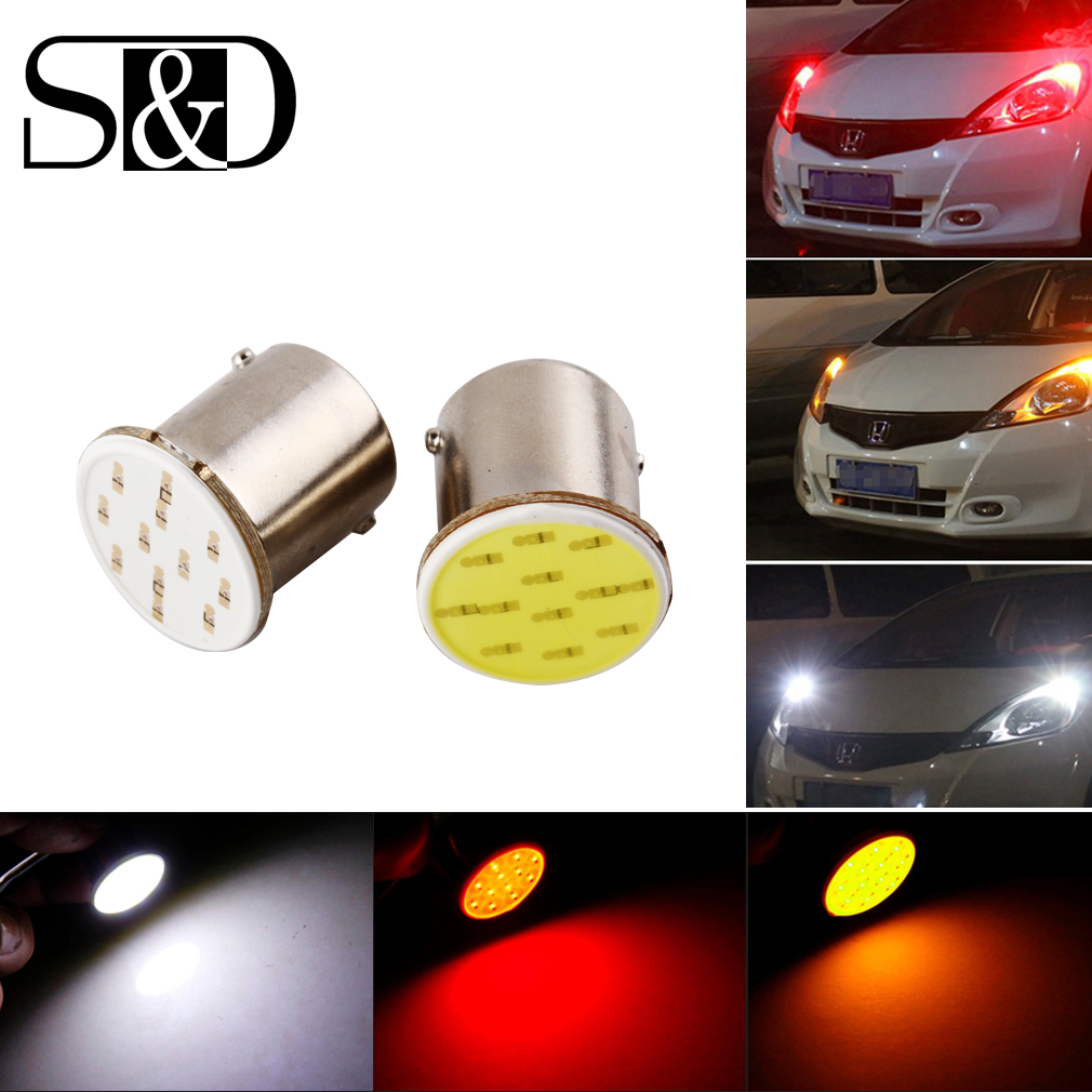 1156 BA15S COB LED Bulbs Backup Turn Signal Backup Light RV Trailer Truck Interior Reverse Tail Bulb 12V 3W White Red Amber D020