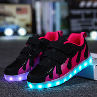 BABAYA Fire Printed Children Glowing Shoes Boys Girls Led Luminous Sneakers USB Charge Kids Light Shoes 007