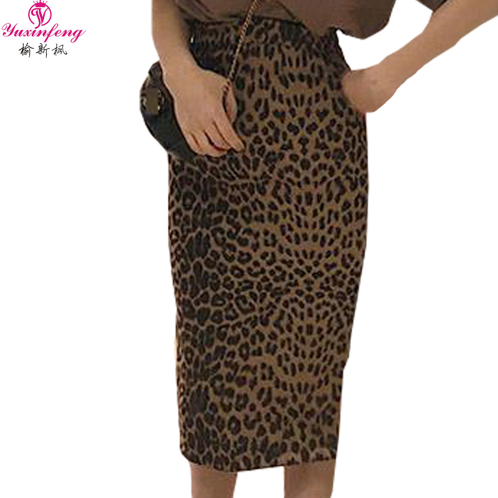 Yuxinfeng Women Bodycon Leopard Skirt Sexy Printing Knee Length Pencil  Skirt Female Fashion Club Party Skirts bf95e4e03