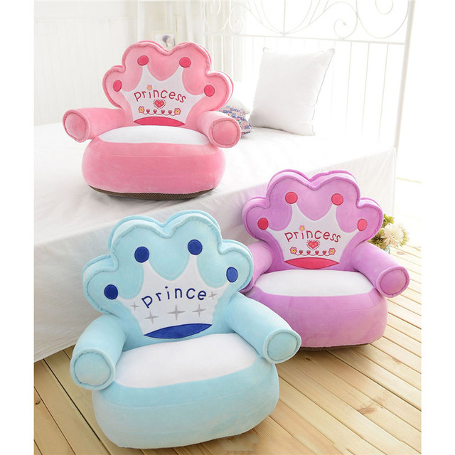 Baby Kids Only Cover NO Filling Cartoon Crown Seat Children Chair Neat Puff  Skin Toddler Children