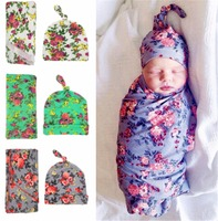 Newborn Baby Swaddle Blanket And Hat Set Floral Baby Blanket Infant Photography Props Muslin Baby