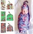 Bebê recém-nascido Swaddle Cobertor Do Bebê Cobertor e Chapéu Set Floral Infantil Adereços Fotografia Musselina Bebê Swaddle Envoltório e Boné Conjunto
