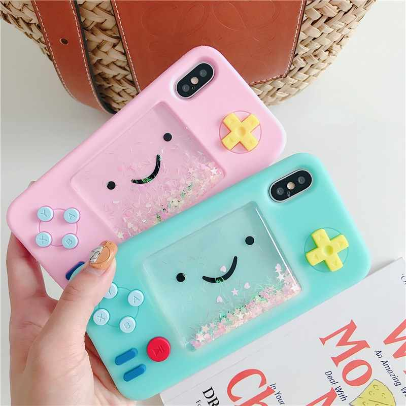 Gimfun Funny Cartoon Playgame Liquid Phone Case for Iphone 6 7 8Plus Xxs Max Xr Glitter Soft Silicone Rubber Cat Bear Case Cover