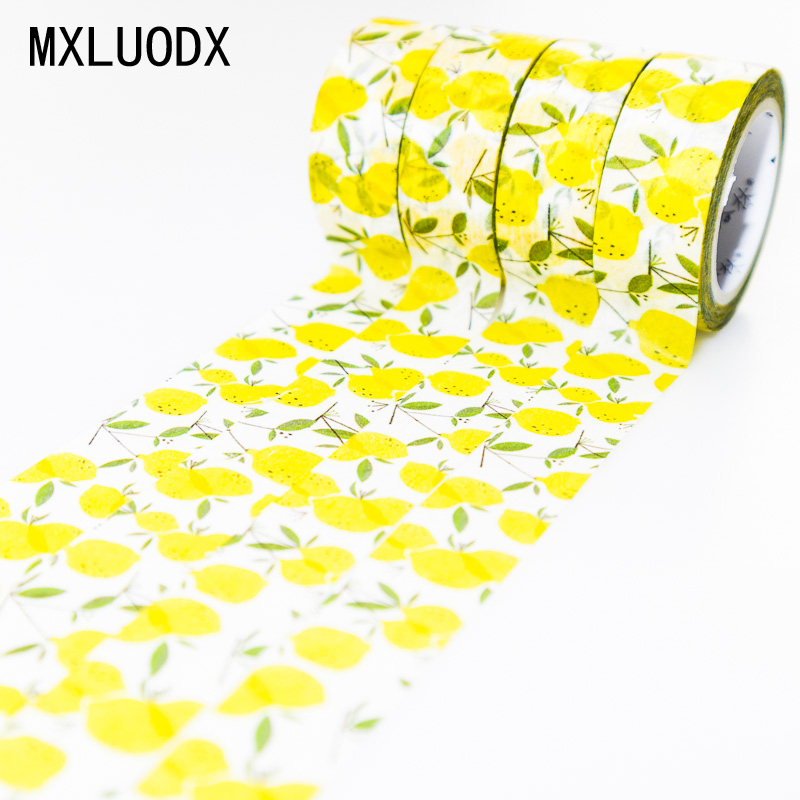 Washi Masking Tape Set Decorative Adhesive Tapes DIY Light Yellow Lemon Fruit Office Stationery Decor Paper Scrapbook 1PCS/Lot