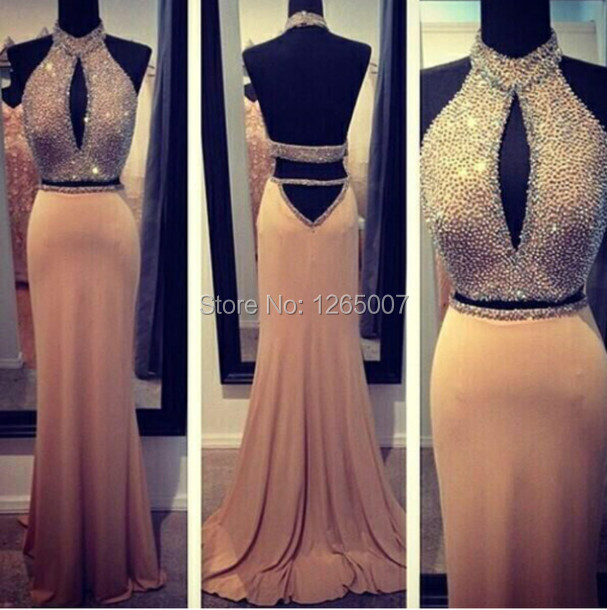 New Halter Keyhole Front Glitter Sparkly Beaded Open Back Mermaid 2 Two  Piece Prom Dresses 2015 Fashion Gowns Sexy a34afbf6a920