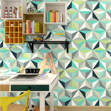 Modern Geometric Wall Papers Home Decor Blue Grey Personalized Rhombus Wallpaper Roll for Walls Decoration Mural Papel Pintado