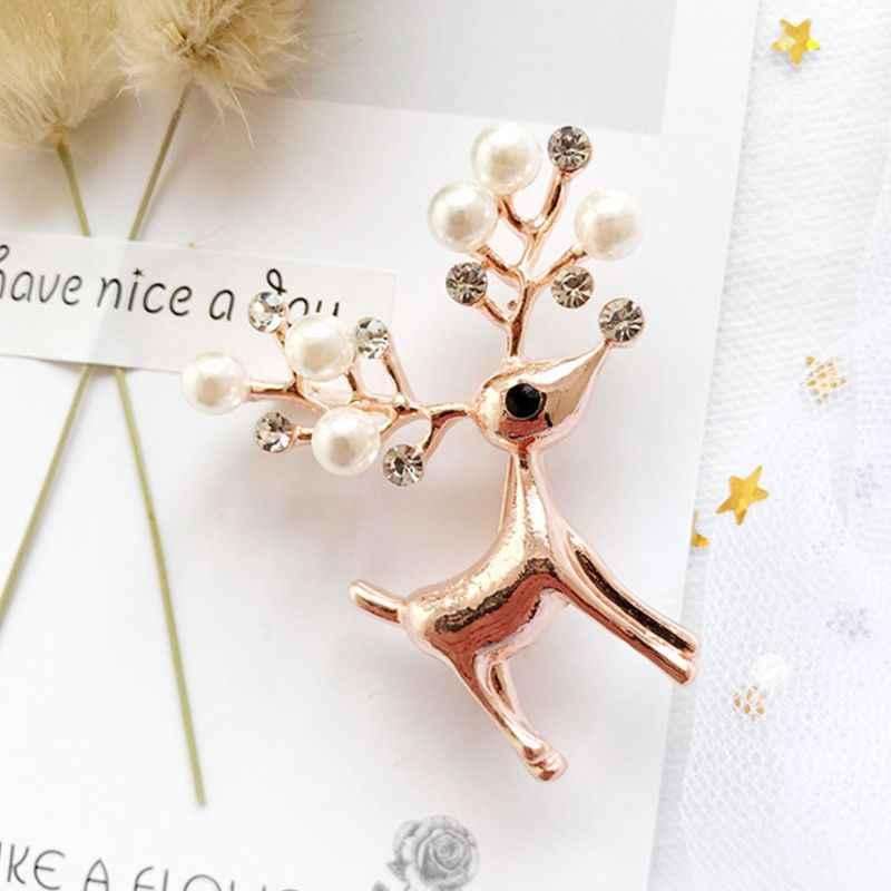 Wanita Pria Logam Paduan Bros Pin Natal Lucu Rusa Tanduk Perhiasan Mutiara Imitasi Berlian Imitasi Syal Kerah Styling Dekorasi Pesta