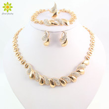 Fashion Women African Gold Color Necklace Earrings Set Party Bridal Wedding Accessories Jewelry Set