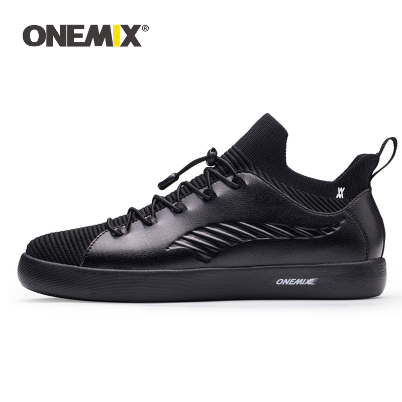 ONEMIX skateboarding shoes sneakers for men soft micro fiber leather upper elastic outsole women shoes walking