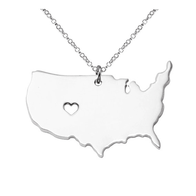 Large america necklace map pendant necklaces usa state pendants map large america necklace map pendant necklaces usa state pendants map necklace with a heart handmade aloadofball Gallery
