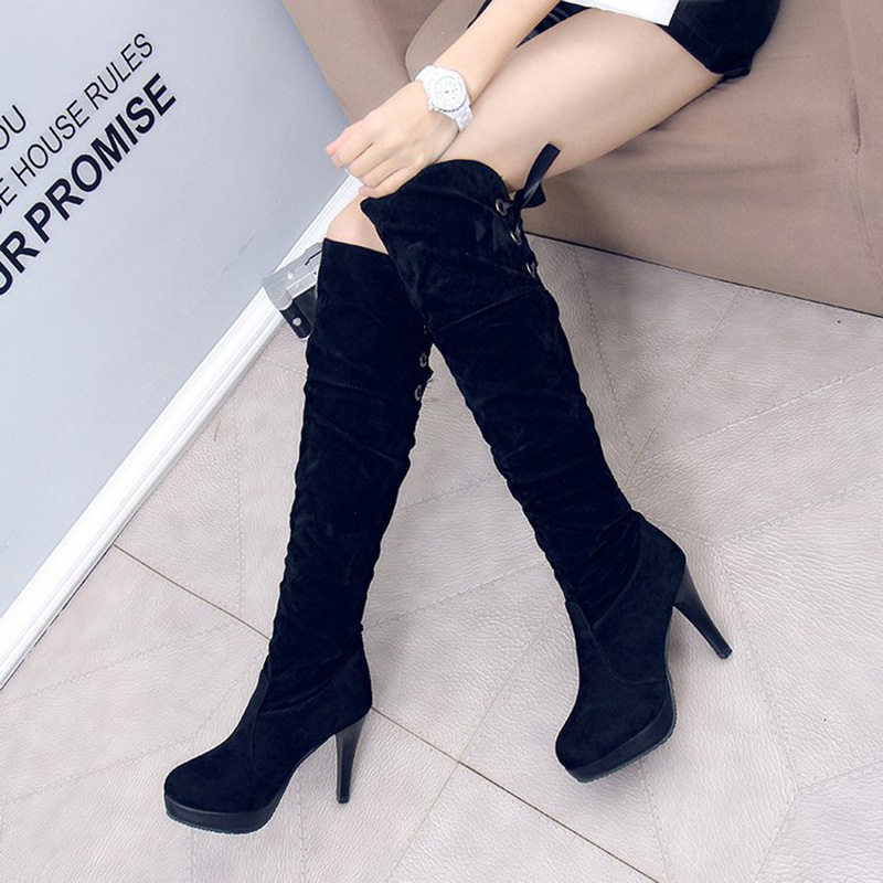 2018 Autumn Winter Boots Women Shoes Crossover Strap Boots Lace Up Sexy Low Heels Women Shoes Lace Up Women's Boots black sexy lace crossover front bralette top