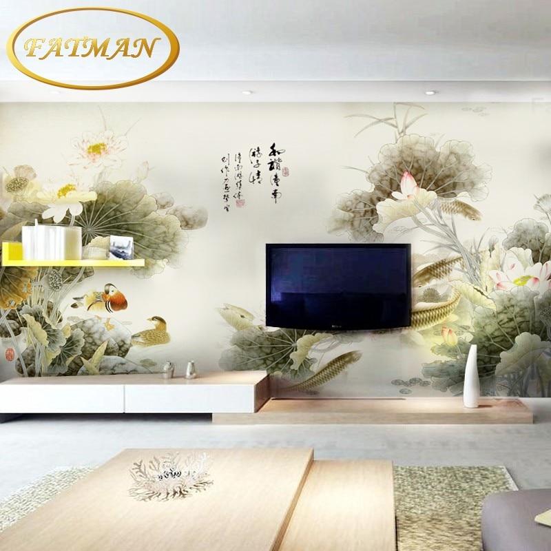 Photo wallpaper Chinese flower car wallpaper mural modern TV background mural wallpaper for living room