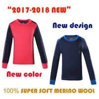 100% laine mérinos enfants sous-vêtement thermique chemise haute sport à manches longues t-shirt garçons filles