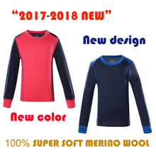 100% Merino wool kids thermal underwear Top Shirt sports long sleeve T shirt boy