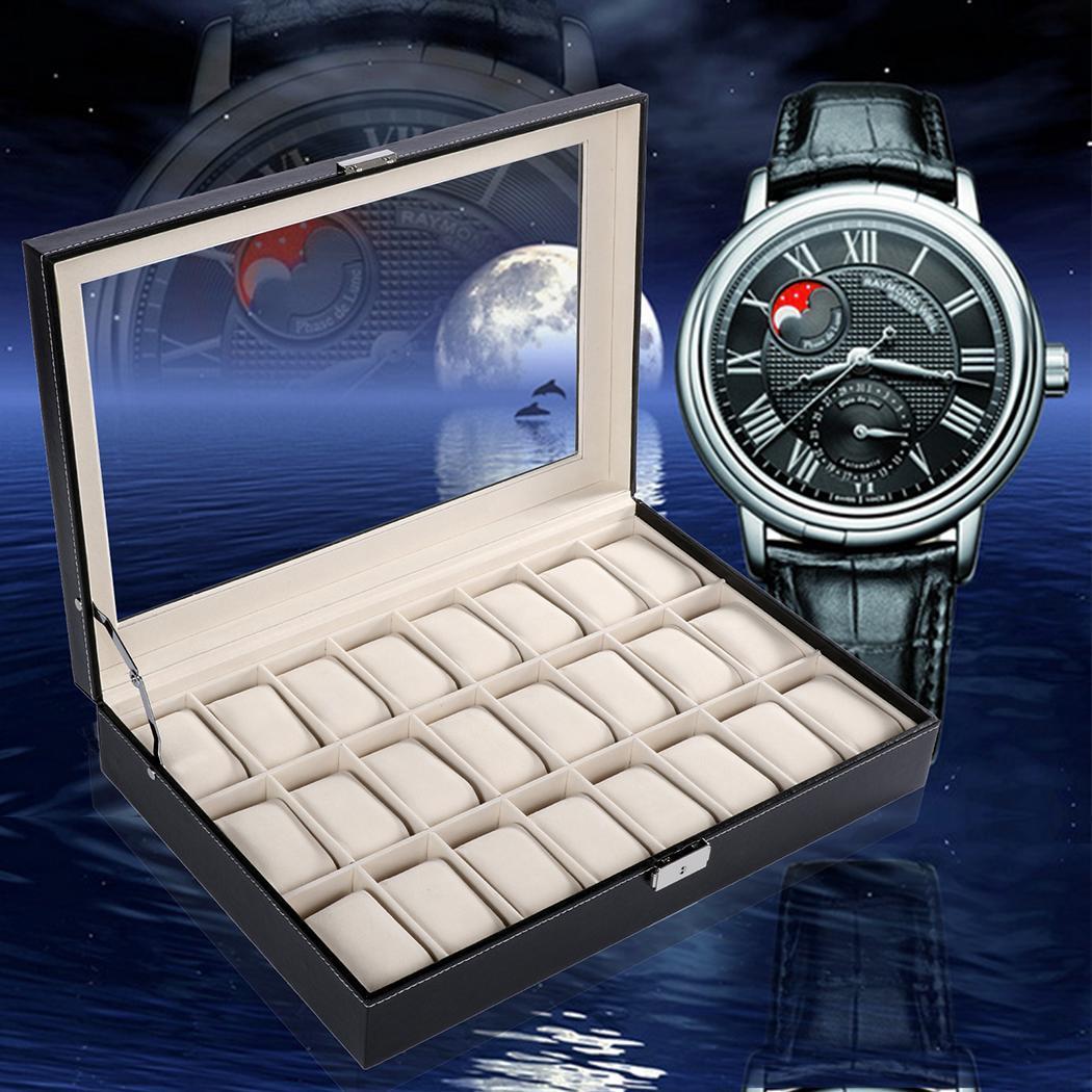 Montres en cuir vitrine montre organisateur boîtier noir 24 fentes bijoux boîte de rangement
