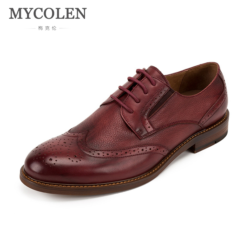 MYCOLEN Luxury Brand Fashion Men Dress Shoes Top Quality Men Leather Mens Shoes British Style Business Shoes Herrenschuhe european style real ostrich grain leather qshoes shoes mens brand design business dress luxury men fashion top shoe ym723 63