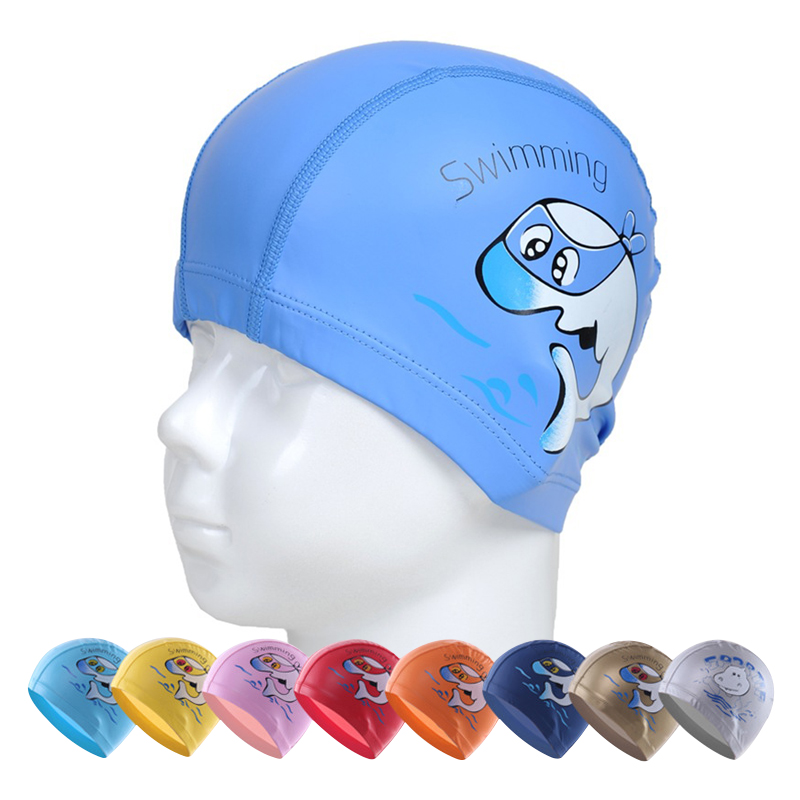 swim caps kids child cartoon cute Dolphin PU swimming caps hats Waterproof Hair Ear Protection pool cap cover beach accessories