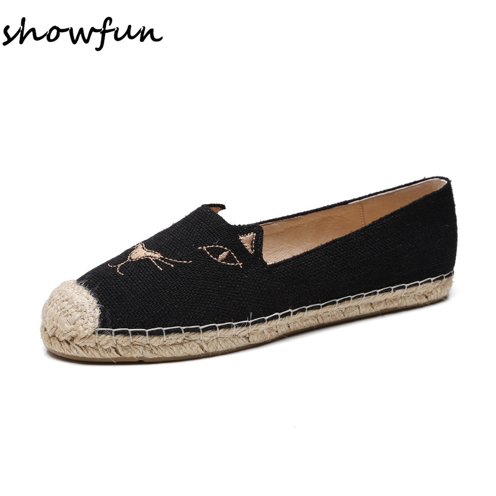 Women's hemp upper Embroidery Cat face slip-on flats loafers brand designer leisure moccasins comfort espadrilles shoes on sale women s genuine leather carving slip on loafers brand design platform flats leisure espadrilles brogues shoes moccasins zapatos