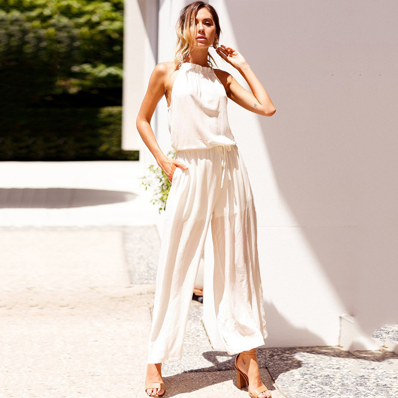 Sexy Lace Up Pocket Jumpsuit White Backless Sleeveless Long Playsuit Tunic Beach Loose Rompers Streetwear Overalls For Women in Jumpsuits from Women 39 s Clothing
