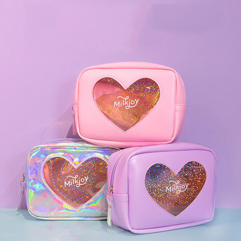 300pcs/lot Laser Lucency Cosmetic Cases Diamonds Hologram Heart Girl Make Up Case Travel Toiletry Bags Pouch Storage Bag