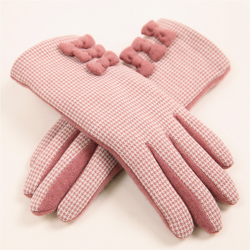 2018 Winter Women Knitted Wool Gloves With Touch Screen Function Elegant Three Bow-knot Five Fingers Lady Driving Glove T172