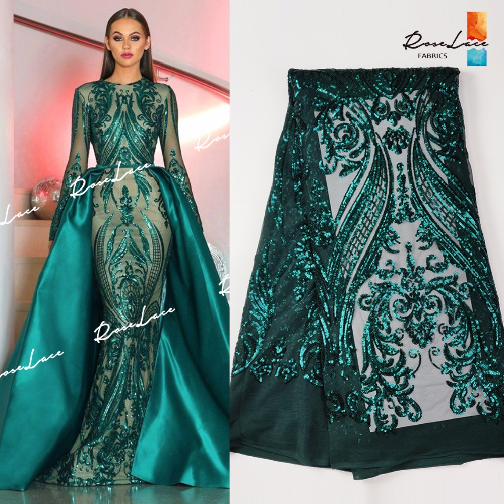 Christmas Green Color Sequined Embroidered Net Lace Fabrics Classical Design For Indian Women Evening Party Dresses