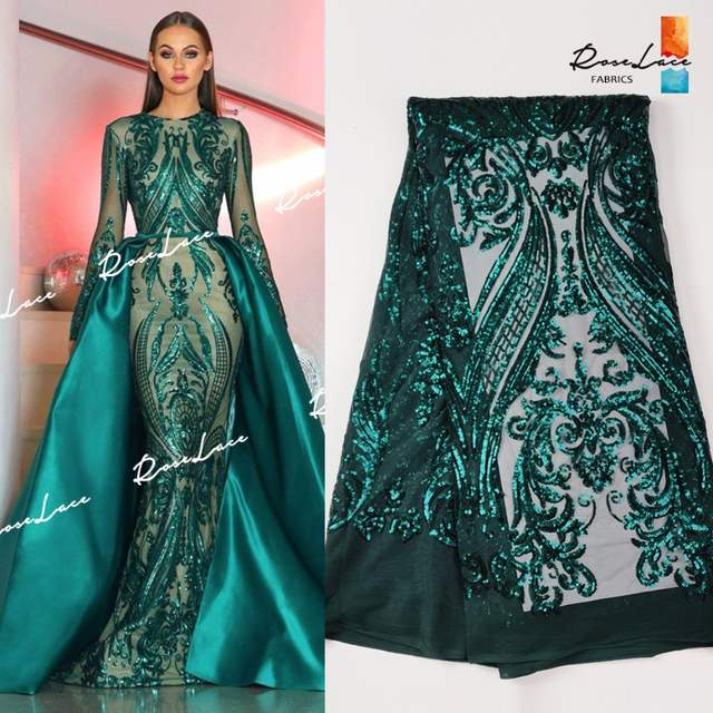 Christmas Green Dress.Us 54 62 49 Off Christmas Green Color Sequined Embroidered Net Lace Fabrics Classical Design For Indian Women Evening Party Dresses Sequins Lace In