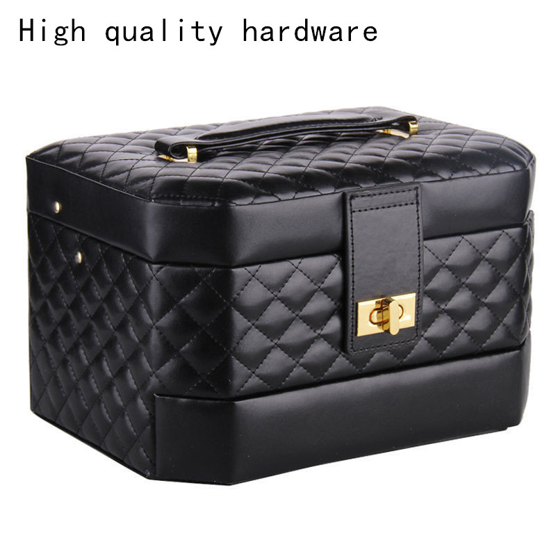 Portable Jewelry Box Girls Jewellery Velvet Organizer 3 Layers Mirrored Holder PU Leather Earrings Case with