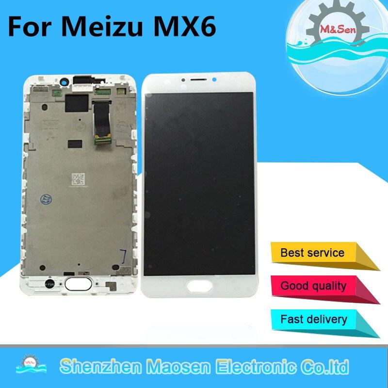 M & Sen Pour 5.5 ''Meizu MX6 écran LCD display + Tactile Digitizer avec cadre blanc/noir Livraison gratuite