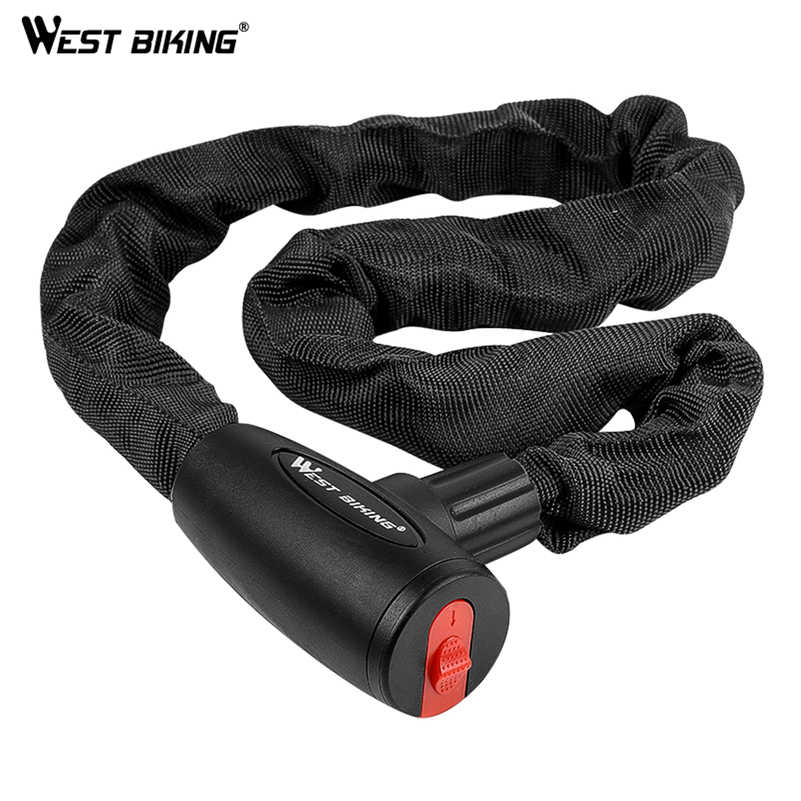 WEST BIKING Bicycle Chain Lock Anti-theft Safety Bike Lock With Keys Reinforced Alloy Steel Motorcycle Cycling Chain Cable Lock
