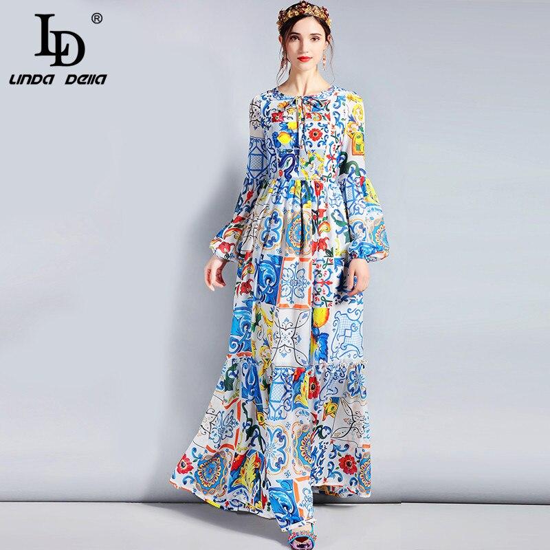 LD LINDA DELLA модельер Макси платье 3XL Большие размеры Для женщин с длинными рукавами Boho красочные Цветочный принт Повседневное длинное платье