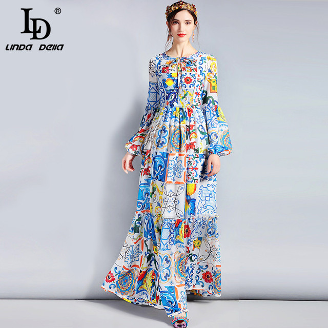 LD LINDA DELLA Fashion Designer Maxi Dress 3XL Plus size Women's Long Sleeve Boho Colorful Flower Print Casual Long Dress