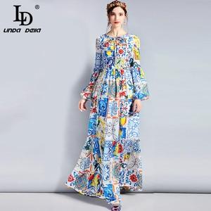 Image 1 - LD LINDA DELLA Fashion Designer Maxi Dress 5XL Plus size Womens Long Sleeve Boho Colorful Flower Print Casual Long Dress