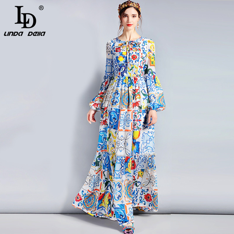 LD LINDA DELLA Fashion Designer Maxi Dress 3XL Plus size Women's Long Sleeve Boho Colorful Flower Print Casual Long Dress