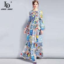 LD LINDA DELLA แฟชั่นชุด Maxi ออกแบบ 5XL Plus ขนาดแขนยาวผู้หญิง Boho พิมพ์ดอกไม้ที่มีสีสันพิมพ์สบายๆชุด