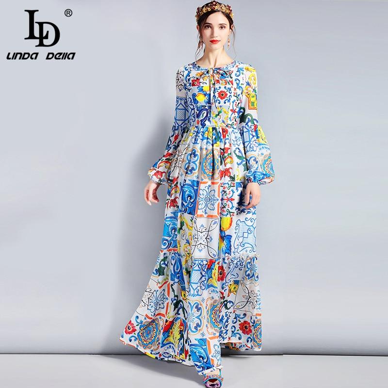 LD LINDA DELLA styliste Maxi robe 5XL grande taille femmes à manches longues bohème coloré fleur imprimer robe longue décontractée
