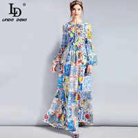LD LINDA DELLA Moda Del Progettista Maxi Vestito 5XL delle Donne Più di formato Manica Lunga Boho Colorful Flower Stampa Casual Lungo vestito